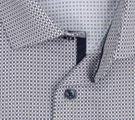 OLYMP vasalásmentes férfi ing karcsúsított hosszított ujjú barna-sötétkék mintás - gallér