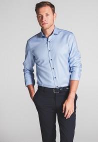 eterna vasalásmentes duplán karcsúsított férfi ing eterna vasalásmentes duplán karcsúsított férfi ing kék-világoskék anyagában mintás - modell