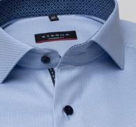eterna vasalásmentes karcsúsított férfi ing kék-világoskék anyagában mintás - gallér