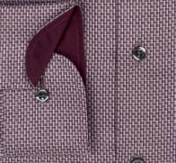 eterna vasalásmentes duplán karcsúsított férfi ing bordó mintás - mandzsetta