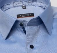 eterna vasalásmentes karcsúsított férfi ing kék anyagában csíkos - gallér