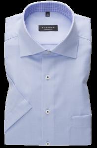 eterna vasalásmentes férfi ing rövid ujjú világoskék anyagában mintás