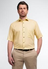 eterna vasalásmentes férfi ing rövid ujjú sárga anyagában mintás - modell