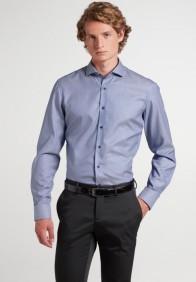 eterna vasalásmentes duplán karcsúsított férfi ing sötétkék anyagában mintás - modell
