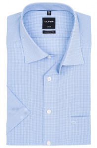 OLYMP vasalásmentes férfi ing karcsúsított kék kockás rövid ujjú