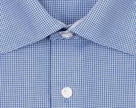OLYMP vasalásmentes férfi ing karcsúsított sötétkék kockás - gallér
