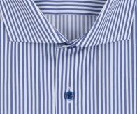 eterna vasalásmentes karcsúsított férfi ing kék-fehér csíkos (kék gombok, lotus shirt) - gallér