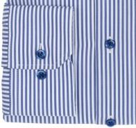 eterna vasalásmentes karcsúsított férfi ing kék-fehér csíkos (kék gombok, lotus shirt) - mandzsetta