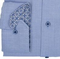eterna vasalásmentes férfi ing kék-fehér anyagában mintás - mandzsetta