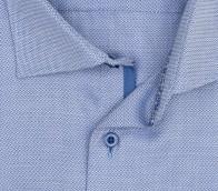 eterna vasalásmentes duplán karcsúsított férfi ing kék-fehér anyagában mintás - gallér