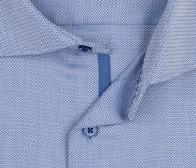 eterna vasalásmentes karcsúsított férfi ing kék-fehér anyagában mintás - gallér