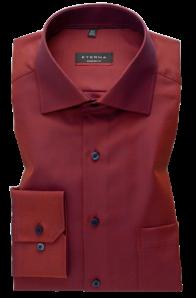 eterna vasalásmentes karcsúsított férfi ing rozsda-sötétkék anyagában mintás