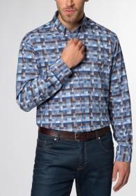 eterna vasalásmentes karcsúsított férfi ing barna-kék kockás - modell