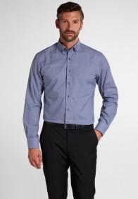 eterna vasalásmentes karcsúsított férfi ing sötétkék kockás hosszított ujjú - modell