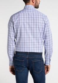 eterna vasalásmentes karcsúsított férfi ing padlizsán-kék-khaki kockás - hát