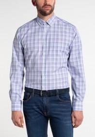 eterna vasalásmentes karcsúsított férfi ing padlizsán-kék-khaki kockás - modell
