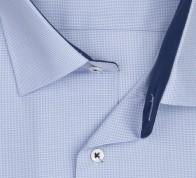 eterna vasalásmentes férfi ing rövid ujjú világoskék apró mintás - gallér