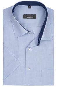 eterna vasalásmentes férfi ing rövid ujjú világoskék apró mintás
