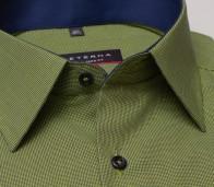 eterna vasalásmentes karcsúsított férfi ing zöld-sötétkék apró mintás rövid ujjú - gallér