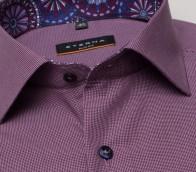 eterna vasalásmentes karcsúsított férfi ing bordós lila mintás - gallér
