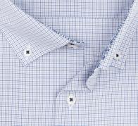 eterna vasalásmentes férfi ing kék-szürke kockás - gallér
