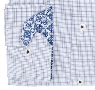 eterna vasalásmentes karcsúsított férfi ing kék-szürke kockás - mandzsetta