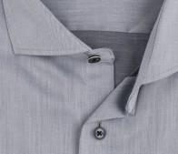 eterna vasalásmentes karcsúsított férfi ing világosszürke (fekete gombok, lotus shirt) - gallér