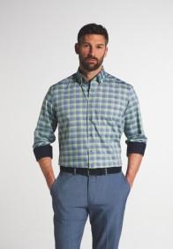 eterna vasalásmentes férfi ing zöld-kék kockás - modell