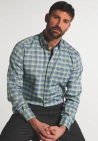 eterna vasalásmentes karcsúsított férfi ing zöld-kék kockás - modell