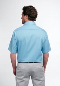 eterna vasalásmentes férfi ing rövid ujjú türkizkék anyagában mintás - hát