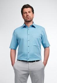 eterna vasalásmentes férfi ing rövid ujjú türkizkék anyagában mintás - modell