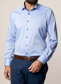 eterna vasalásmentes karcsúsított férfi ing kék hosszított ujjú - modell