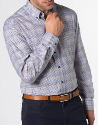 eterna vasalásmentes karcsúsított férfi ing kék-barna kockás - modell