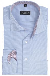 eterna vasalásmentes férfi ing kék-fehér anyagában mintás