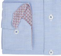 eterna vasalásmentes karcsúsított férfi ing kék-fehér anyagában mintás - mandzsetta