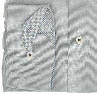 eterna vasalásmentes férfi ing khaki-fehér anyagában mintás - mandzsetta