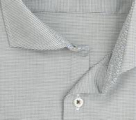 eterna vasalásmentes karcsúsított férfi ing khaki-fehér anyagában mintás - gallér