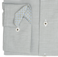eterna vasalásmentes karcsúsított férfi ing khaki-fehér anyagában mintás - mandzsetta