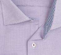 eterna vasalásmentes férfi ing lila-fehér anyagában mintás - gallér