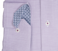 eterna vasalásmentes férfi ing lila-fehér anyagában mintás - mandzsetta