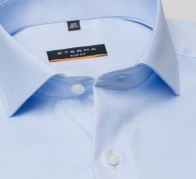 eterna vasalásmentes duplán karcsúsított férfi ing világoskék (cover shirt) - gallér