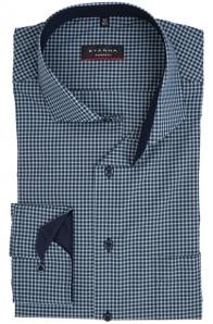 eterna vasalásmentes karcsúsított férfi ing khaki-sötétkék kockás
