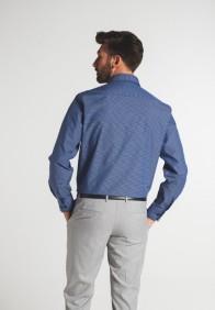eterna vasalásmentes férfi ing kék-sötétkék kockás - modell hát