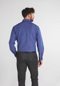 eterna vasalásmentes karcsúsított férfi ing kék-sötétkék kockás - modell hát