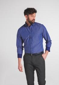 eterna vasalásmentes karcsúsított férfi ing kék-sötétkék kockás - modell