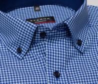eterna vasalásmentes karcsúsított férfi ing rövid ujjú - kék-türkizkék kockás - gallér