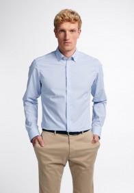 eterna vasalásmentes duplán karcsúsított férfi ing világoskék-fehér kockás - modell
