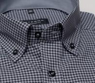 eterna vasalásmentes férfi ing szürke-fekete kockás - gallér