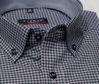 eterna vasalásmentes karcsúsított férfi ing szürke-fekete kockás - gallér