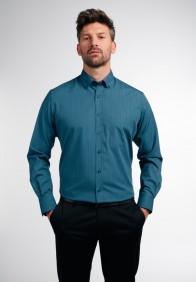 eterna vasalásmentes karcsúsított férfi ing türkiz-sötétkék kockás - modell